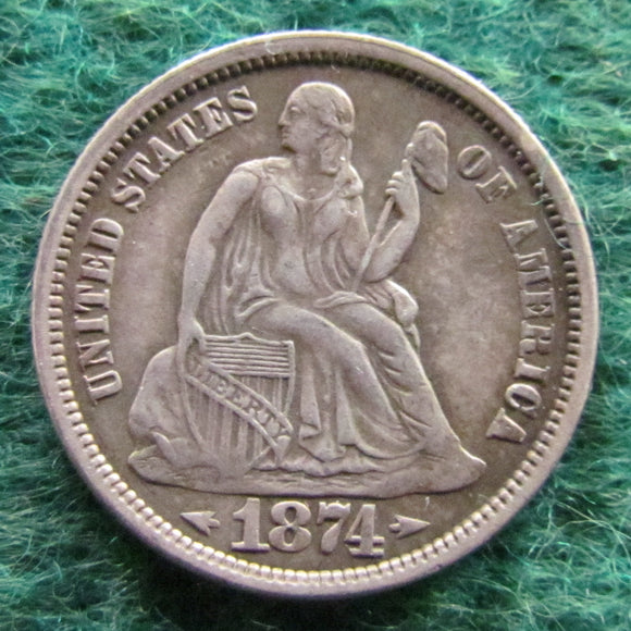 USA American 1874 Silver Seated Liberty Dime Coin - Arrows At Date - Circulated