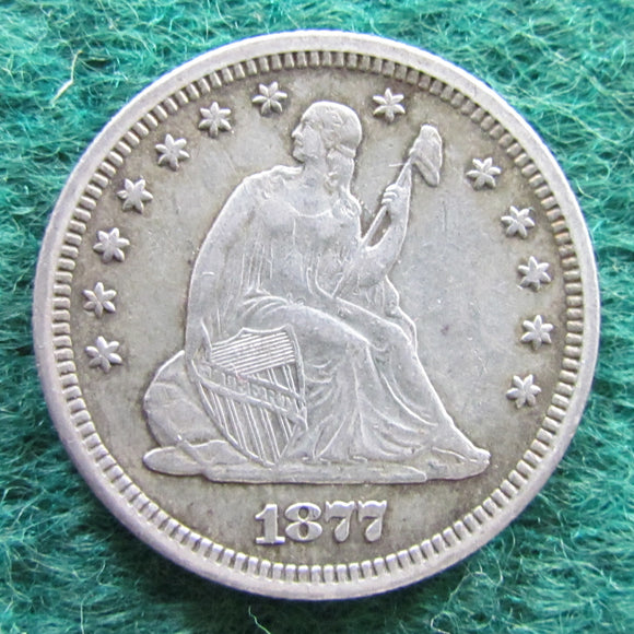 USA American 1877 S Seated Liberty Quarter Coin - Circulated