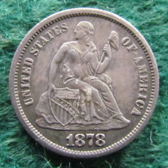 USA American 1878 CC Silver Seated Liberty Dime Coin - Circulated