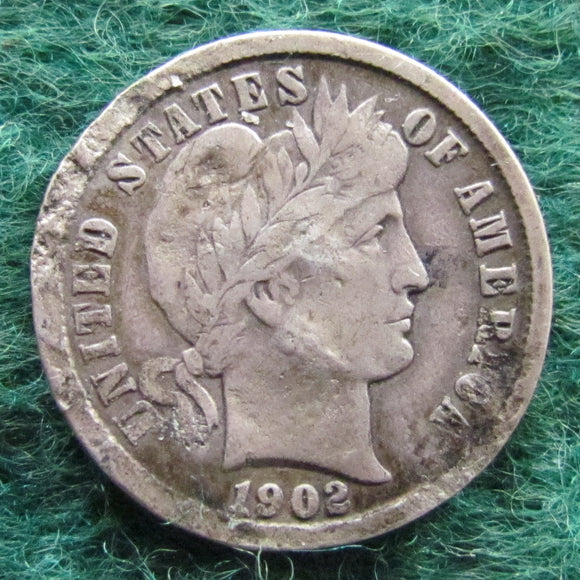 USA American 1902 Barber Dime Coin - Circulated