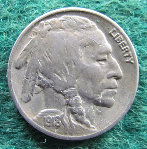 USA American 1918 S Buffalo Nickel Coin - Circulated
