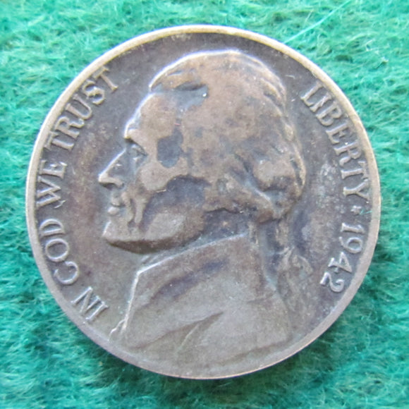 USA American 1942 P Nickel Jefferson Coin - Circulated
