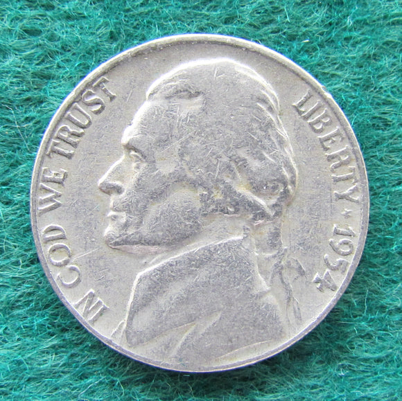USA American 1954 Nickel Jefferson Coin - Circulated