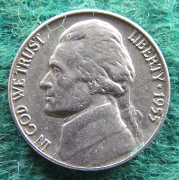 USA American 1955 D Nickel Jefferson Coin - Circulated
