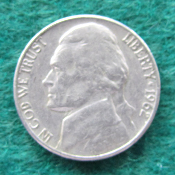 USA American 1962 Nickel Jefferson Coin - Circulated