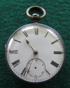 Unidentified Silver Open Faceced Pocket Watch Key Wind c1875