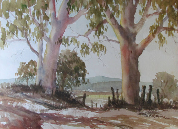 Pencil Signed Watercolour Australian Landscape Between The Trees