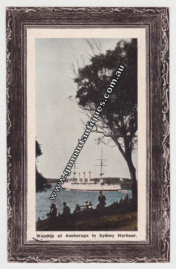 Postcard Warship At Anchorage In Sydney Harbour NSW Australia 1909