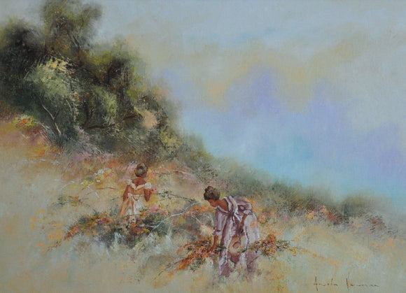 Anita Newman Oil Painting ' Picking Springs First Blooms ' About 1987