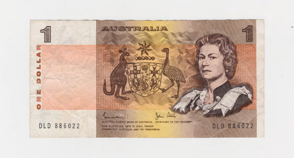 Australian 1982 1 Dollar Johnston Stone Banknote  s/n DLD 886022 - Circulated