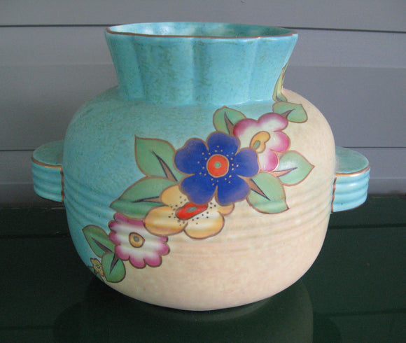 Art Deco Crown Devon squat hand painted vase