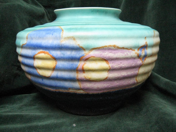 1930's Clarice Cliff  Inspiration Bizarre Flower squat vase Newport with hand signed backstamp