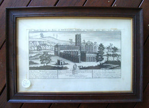 "Engraving by Samuel & Nathanuel Buck "" The South View of Fountains Abbey in Skeldale Three Miles From Rippon "" numbered"
