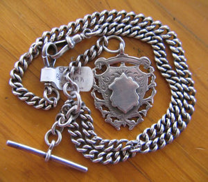 Sterling Silver Curb Link Fob Watch Chain And Fob Hallmarked Birmingham 1911 Cartuce Clear