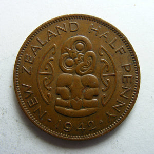 New Zealand 1942 Half Penny King George VI Coin