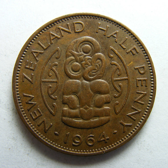 New Zealand 1964 Half Penny Queen Elizabeth II Coin