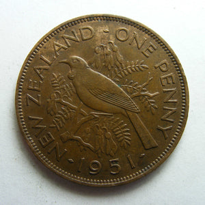 New Zealand 1951 Penny King George VI Coin
