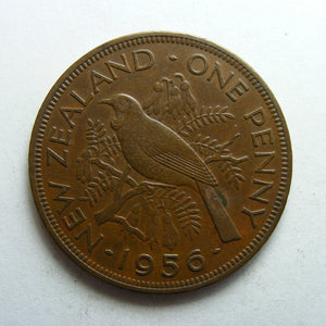 New Zealand 1956 Penny Queen Elizabeth II Coin