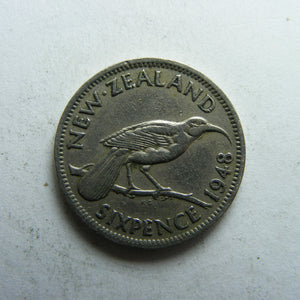 New Zealand 1948 Sixpence King George VI Coin