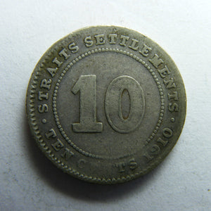 Straits Settlements 1910 Ten Cent King George V Coin