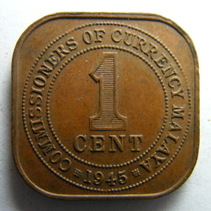 Malaya 1945 One Cent King George VI Coin