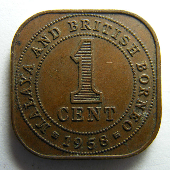 British Borneo 1958 One Cent Queen Elizabeth II Coin