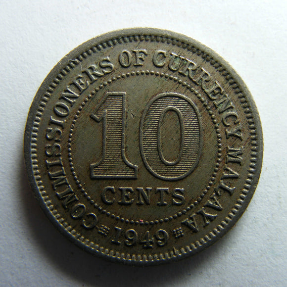 Malaya 1949 Ten Cent King George VI Coin