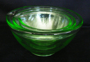 green depression glass mixing bowls in a graduating set of three ( 3 ) SOLD ANOTHER WANTED