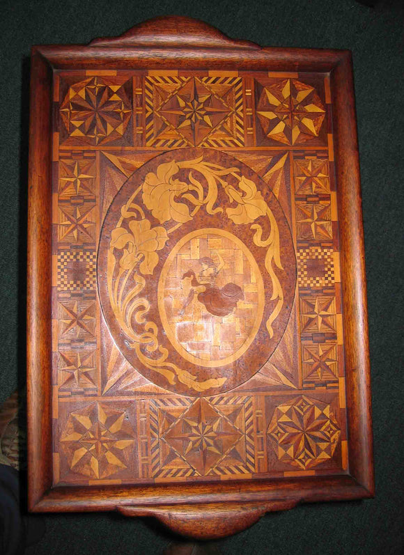 Marquetry tray by Ernest Langford c1920-30.