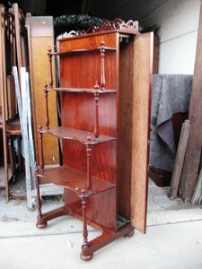 Mahogany 3  tier what-not leaf cabinet c1870-80