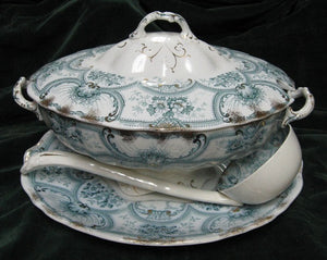 J G Meakin York pattern lidded soup tureen with stand and ceramic ladle