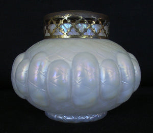Opalescent glass rose bowl with plated metal stem separator
