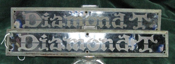 Pair of Enamel Diamond T engine cover insignias for Diamond T Truck