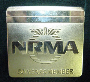 N.R.M.A. Gold plated back fixing car badge 50 Years of Membership NRMA