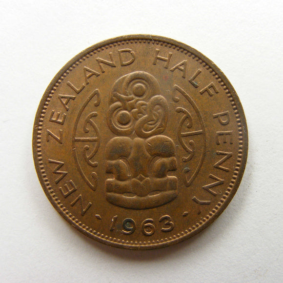 New Zealand 1963 Half Penny Queen Elizabeth II Coin