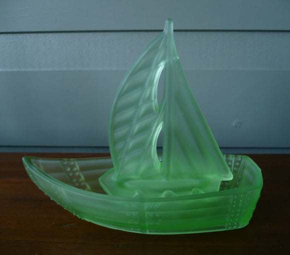 Table centre / float bowl figure in the form of a sailing boat in frosted green citrene glass citrene glass sailing boat SOLD ANOTHER WANTED