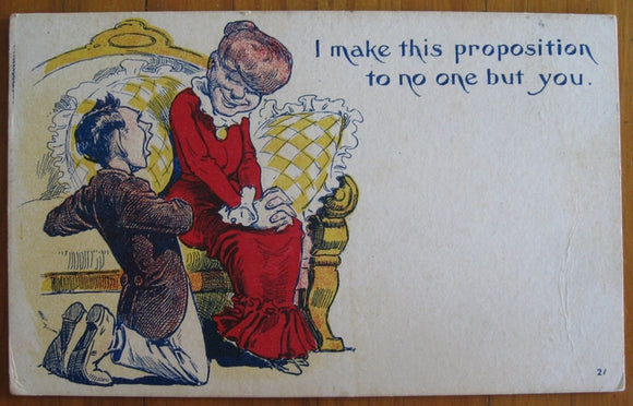 Postcard vintage humor 'I make this proposition....