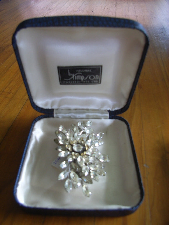Donald Simpson clear / champagne Rhinestone / Diamante brooch embossed to frame Simpson in original box