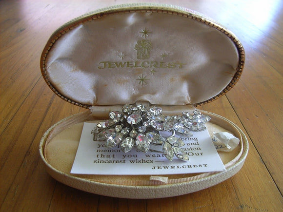 Jewelcrest clear rhinestone / diamante brooch in original Jewelcrest box