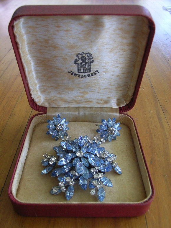 Jewelcrest Blue / Clear rhinestone / diamante brooch and earrings in original Jewelcrest box