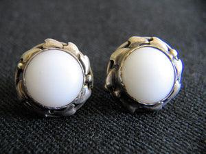 Rhoda Wagner Attributed Arts & Crafts Silver Earrigs (Screw Fastening) with gumleaf design and milk glass insert