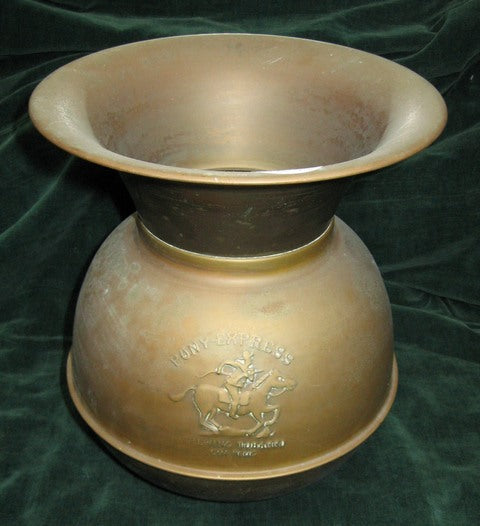 Pony Express Chewing Tobacco Cut Plug Brass Spittoon