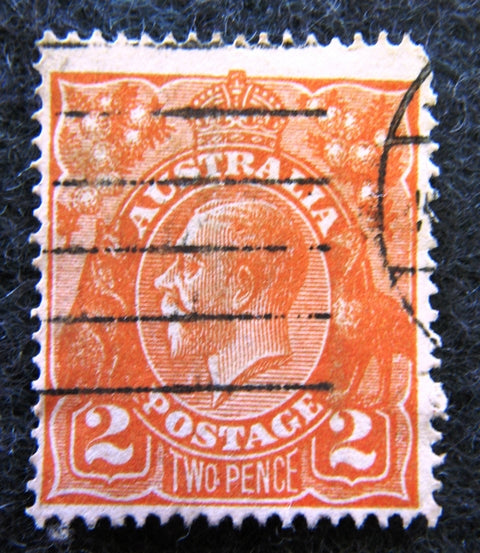 Australian stamp Australian 1913 - 36 Orange 2d 1 2 two penny King George V KGV stamp Definitive Issue R30