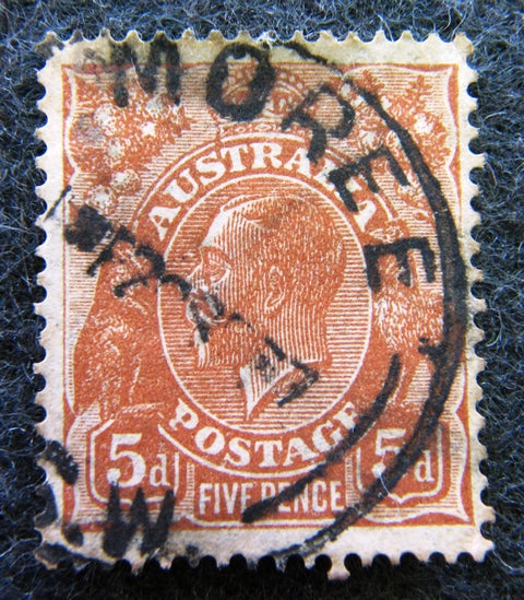 Australian stamp Australian 1913 - 36 Brown 5d 5 five penny King George V KGV stamp Definitive Issue R40