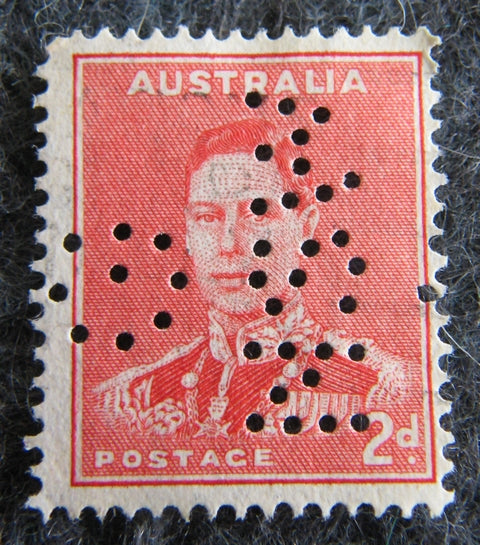 Australian stamp Australian 1937 - 48 Red 2d 2 penny King George VI Stamp perforated NSW