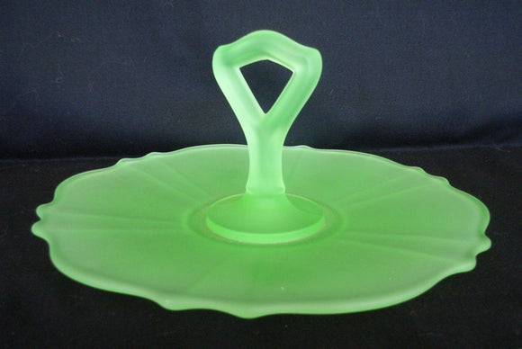Green frosted citrine / citreon / uranium glass handled cake plate SOLD ANOTHER WANTED