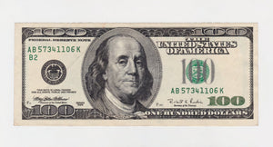 USA 100 One Hundred Dollar Banknote Series 1996 Large Face Franklin