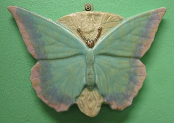Australian pottery unmarked butterfly wall pocket / wall vase