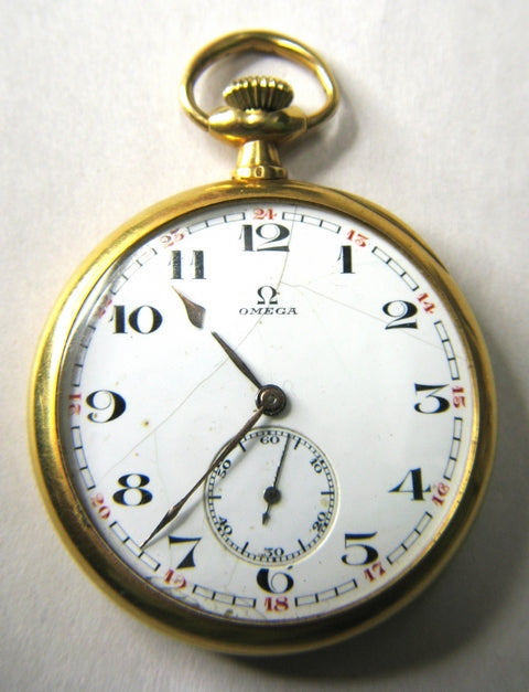 Omega 18ct gold mens open faced pocket watch