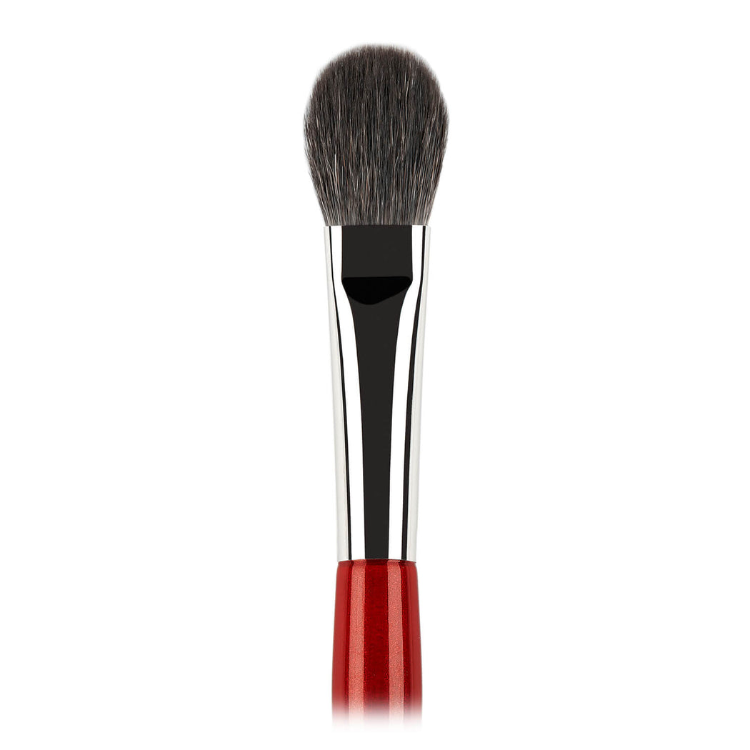 N133 Highlighter and eyeshadow brush, squirrel hair with Vamp Red handle close-up